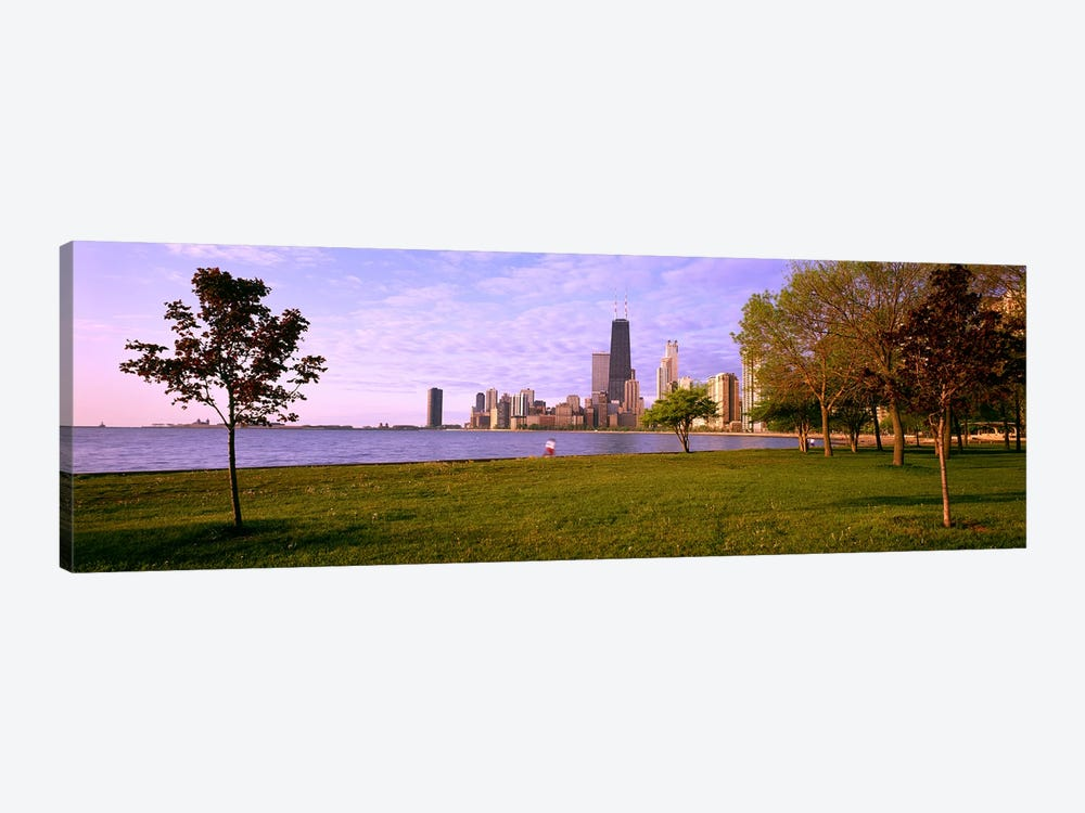 Trees in a park with lake and buildings in the background, Lincoln Park, Lake Michigan, Chicago, Illinois, USA by Panoramic Images 1-piece Canvas Artwork