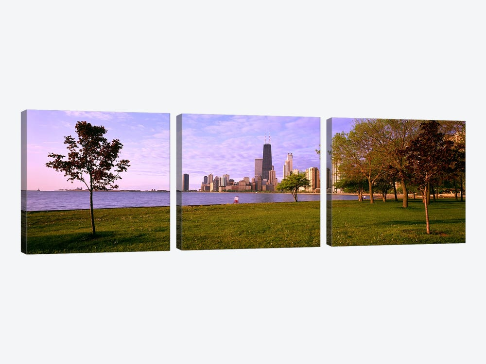 Trees in a park with lake and buildings in the background, Lincoln Park, Lake Michigan, Chicago, Illinois, USA by Panoramic Images 3-piece Canvas Artwork
