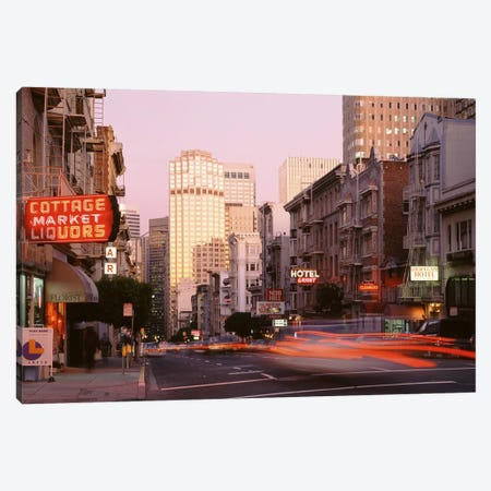 Blurred Motion View Of Evening Traffic, Bush Street, Nob Hill, San Francisco, California Canvas Print #PIM4076} by Panoramic Images Canvas Print