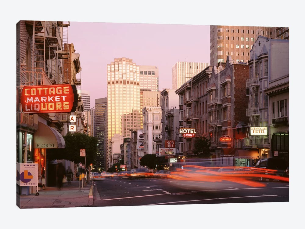 Blurred Motion View Of Evening Traffic, Bush Street, Nob Hill, San Francisco, California by Panoramic Images 1-piece Canvas Art Print