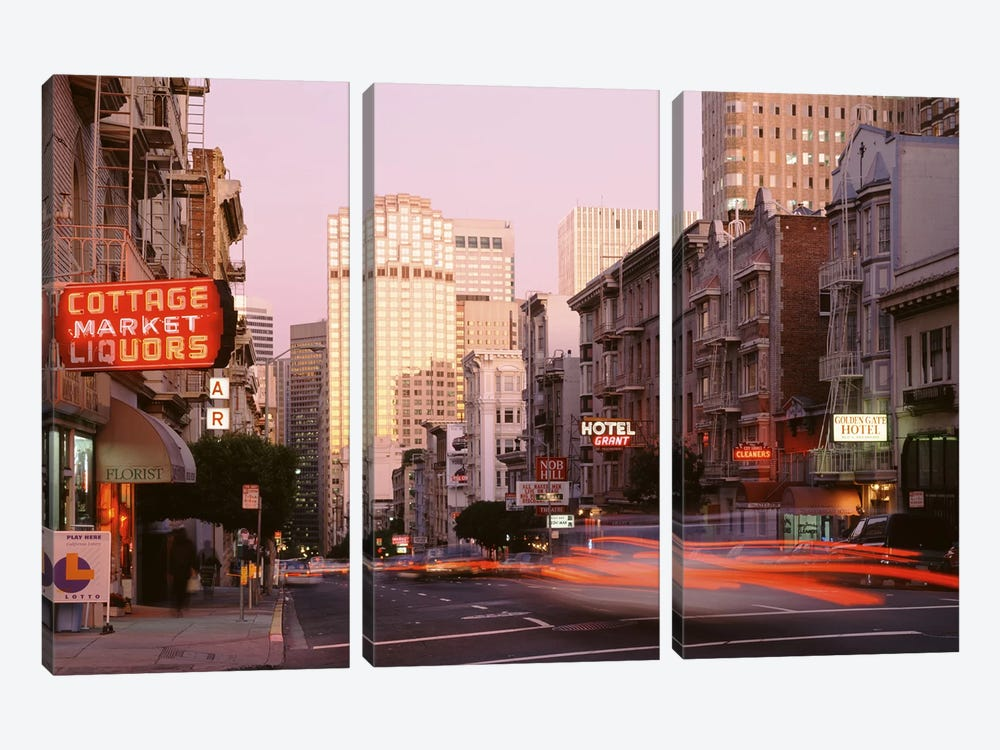 Blurred Motion View Of Evening Traffic, Bush Street, Nob Hill, San Francisco, California by Panoramic Images 3-piece Art Print