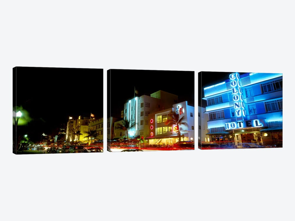 Art Deco Architecture Miami Beach FL by Panoramic Images 3-piece Canvas Art