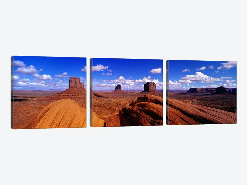 The Mittens & Merrick Butte, Monument Valley, Navajo Nation, Arizona, USA by Panoramic Images 3-piece Canvas Art