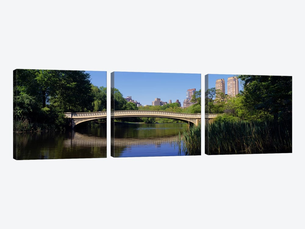Bridge across a lake, Central Park, New York City, New York State, USA by Panoramic Images 3-piece Canvas Print