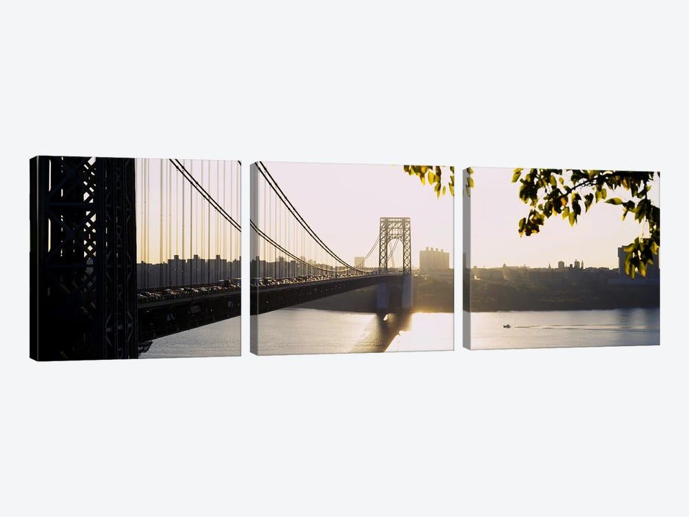 Bridge across the riverGeorge Washington Bridge, New York City, New York State, USA by Panoramic Images 3-piece Canvas Print