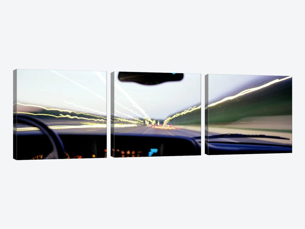 Truck In Motion From Driver's Perspective, Atlanta, Georgia, USA 3-piece Art Print