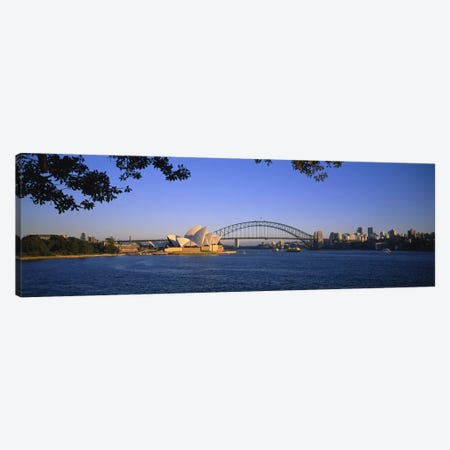 Distant View Of Sydney Harbour Bridge & Sydney Opera House, Sydney, New South Wales, Australia Canvas Print #PIM4106} by Panoramic Images Canvas Print
