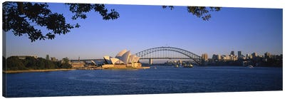 Distant View Of Sydney Harbour Bridge & Sydney Opera House, Sydney, New South Wales, Australia Canvas Art Print