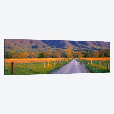 Road At Sundown, Cades Cove, Great Smoky Mountains National Park, Tennessee, USA Canvas Print #PIM4107} by Panoramic Images Canvas Art Print