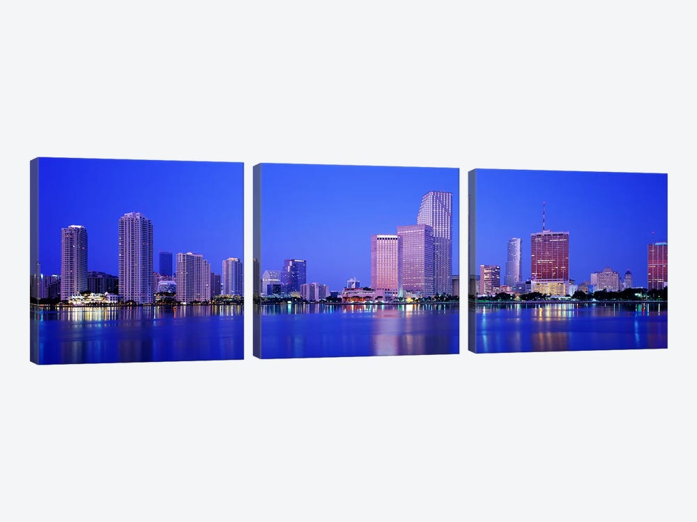 DuskMiami Florida, USA by Panoramic Images 3-piece Canvas Art