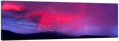 Sunset With Lightning And Rainbow Four Peaks Mountain AZ Canvas Art Print