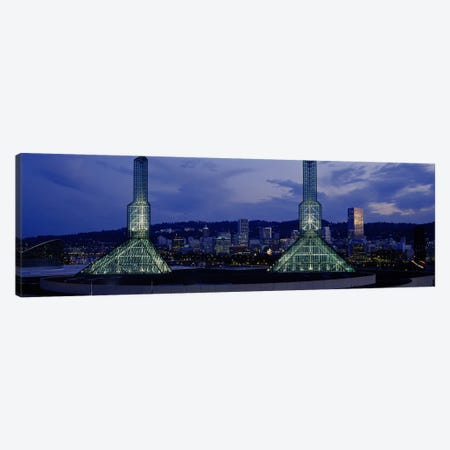 Towers Lit Up At DuskConvention Center, Portland, Oregon, USA Canvas Print #PIM4131} by Panoramic Images Art Print