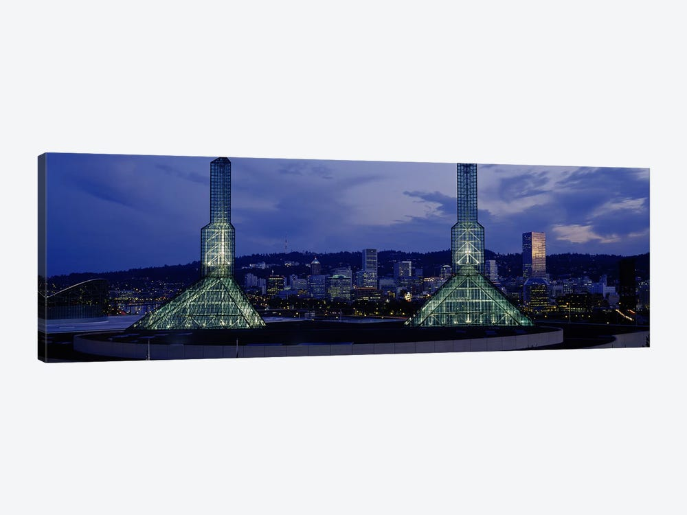 Towers Lit Up At DuskConvention Center, Portland, Oregon, USA by Panoramic Images 1-piece Canvas Art Print