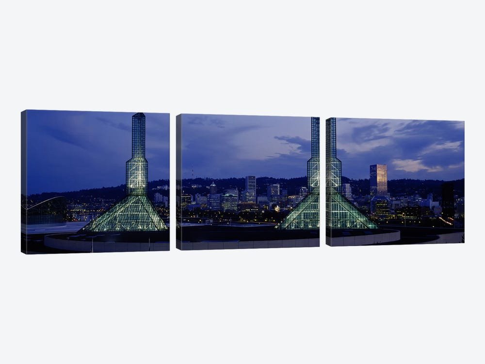 Towers Lit Up At DuskConvention Center, Portland, Oregon, USA by Panoramic Images 3-piece Canvas Print