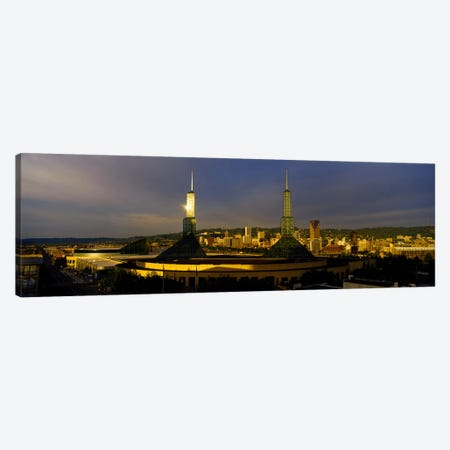 Towers Illuminated At DuskConvention Center, Portland, Oregon, USA Canvas Print #PIM4132} by Panoramic Images Art Print