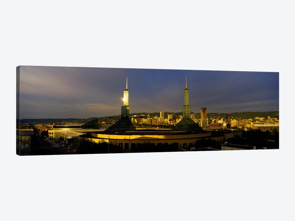 Towers Illuminated At DuskConvention Center, Portland, Oregon, USA 1-piece Canvas Wall Art