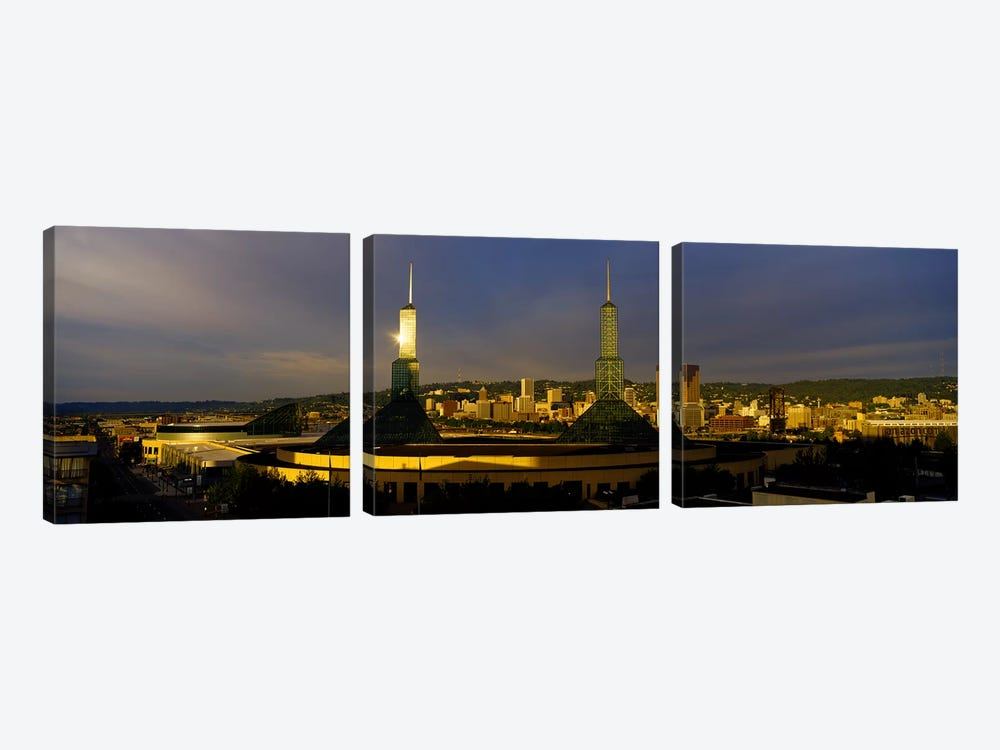 Towers Illuminated At DuskConvention Center, Portland, Oregon, USA by Panoramic Images 3-piece Canvas Wall Art