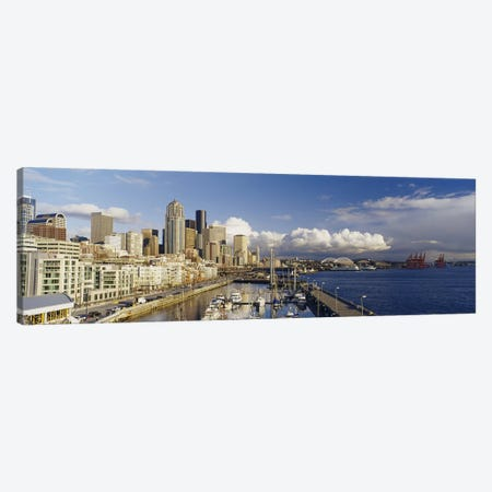 High Angle View Of Boats Docked At A Harbor, Seattle, Washington State, USA Canvas Print #PIM4136} by Panoramic Images Canvas Wall Art