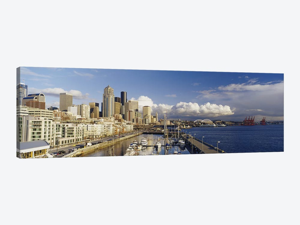 High Angle View Of Boats Docked At A Harbor, Seattle, Washington State, USA by Panoramic Images 1-piece Canvas Art