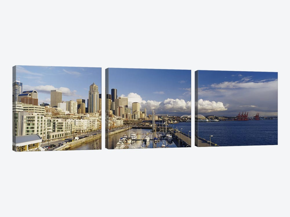 High Angle View Of Boats Docked At A Harbor, Seattle, Washington State, USA by Panoramic Images 3-piece Canvas Art
