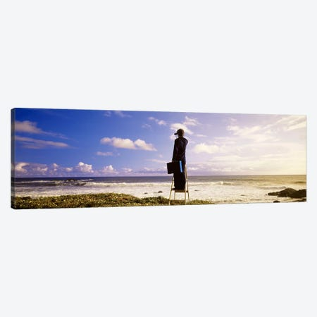 Businessman On A Ladder Looking Through Binoculars On A Beach, California, USA 3-Piece Canvas #PIM4144} by Panoramic Images Canvas Print