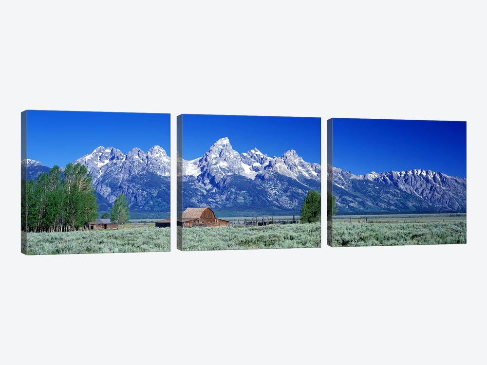 John Moulton Barn, Mormon Row, Grand Teton National Park, Jackson Hole, Wyoming, USA by Panoramic Images 3-piece Canvas Art