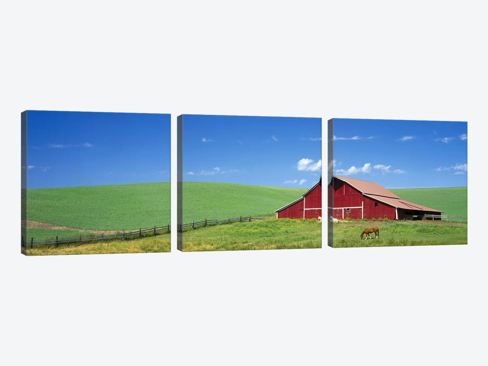 Red Barn in Washington State by Panoramic Images 3-piece Canvas Artwork