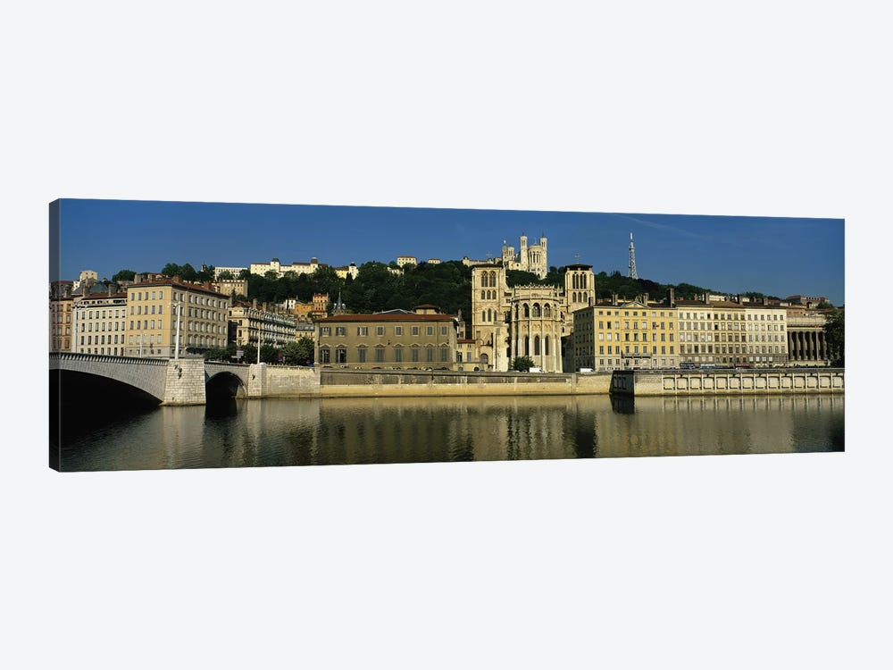 Waterfront Architecture Featuring The Lyon Cathedral (Cathedrale Saint-Jean Baptiste de Lyon), Lyon, France by Panoramic Images 1-piece Canvas Wall Art