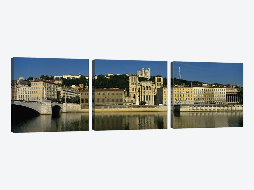Waterfront Architecture Featuring The Lyon Cathedral (Cathedrale Saint-Jean Baptiste de Lyon), Lyon, France by Panoramic Images 3-piece Canvas Artwork