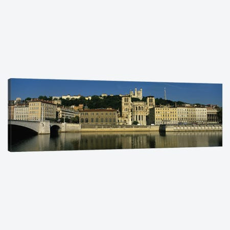 Waterfront Architecture Featuring The Lyon Cathedral (Cathedrale Saint-Jean Baptiste de Lyon), Lyon, France 3-Piece Canvas #PIM4167} by Panoramic Images Canvas Art Print