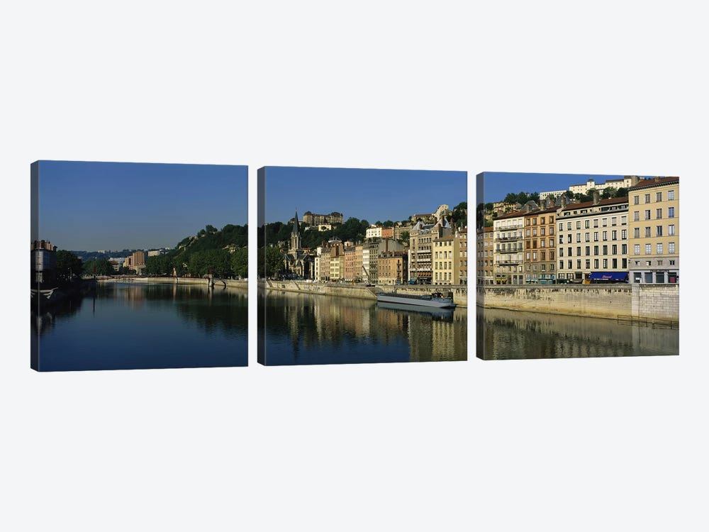 Architecture Along The Saone River, Lyon, Auvergne-Rhone-Alpes, France by Panoramic Images 3-piece Canvas Print