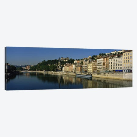 Architecture Along The Saone River, Lyon, Auvergne-Rhone-Alpes, France 3-Piece Canvas #PIM4168} by Panoramic Images Canvas Wall Art