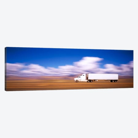 Blurred Motion View Of A Semi Truck, Interstate 70, Near Green River, Utah, USA Canvas Print #PIM416} by Panoramic Images Canvas Artwork