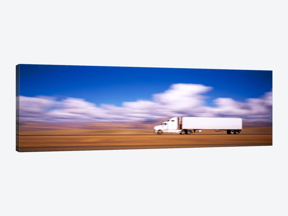 Blurred Motion View Of A Semi Truck, Interstate 70, Near Green River, Utah, USA by Panoramic Images 1-piece Canvas Artwork