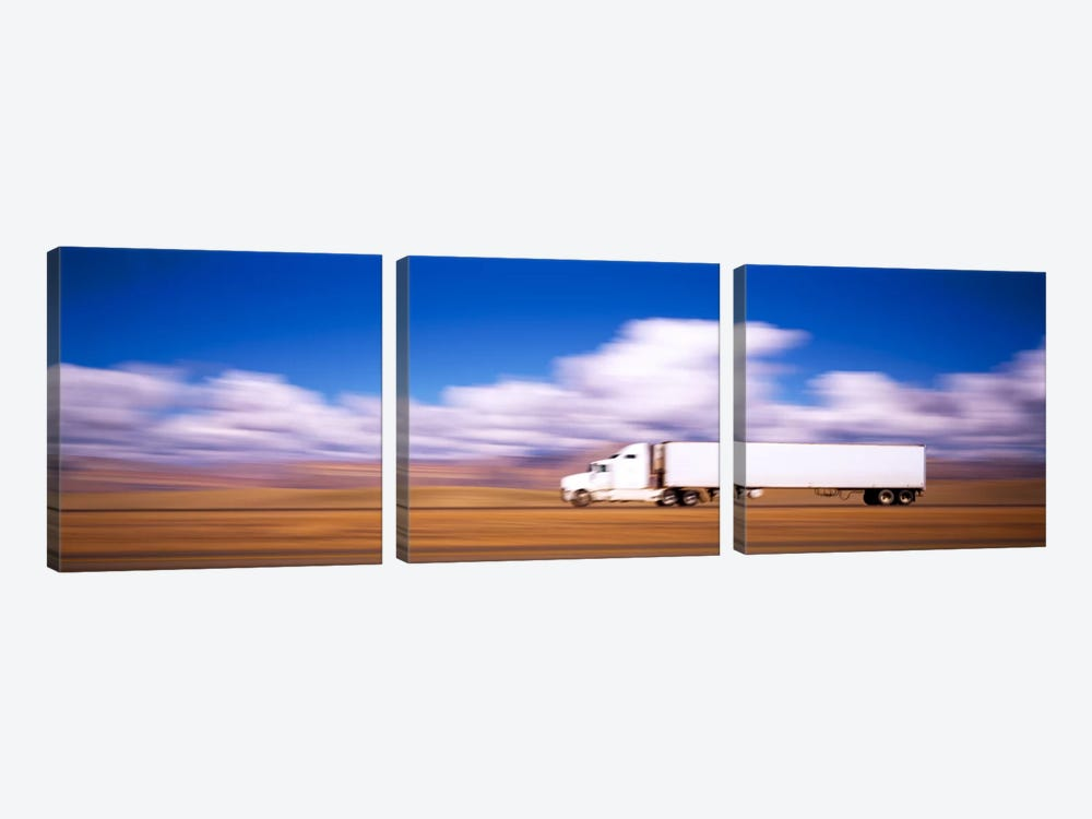 Blurred Motion View Of A Semi Truck, Interstate 70, Near Green River, Utah, USA by Panoramic Images 3-piece Canvas Artwork