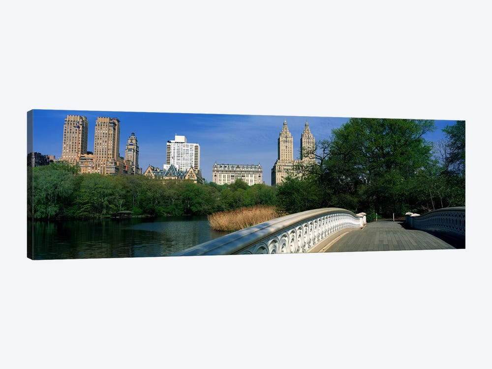 View Of Historic Buildings Along Central Park West From Bow Bridge, New York City, New York, USA by Panoramic Images 1-piece Canvas Artwork