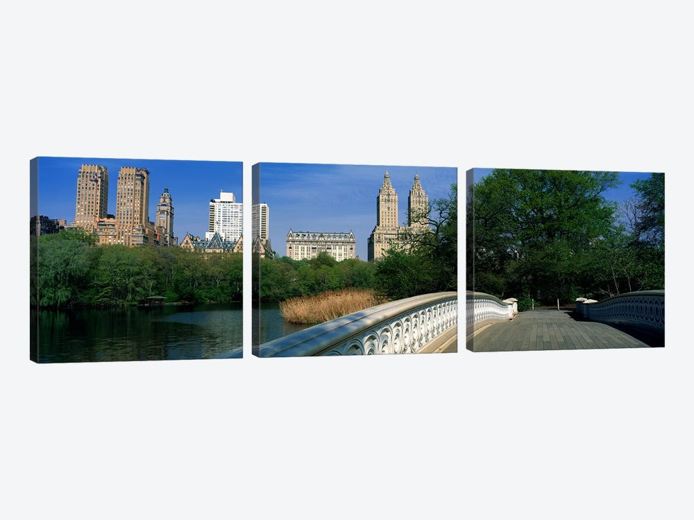 View Of Historic Buildings Along Central Park West From Bow Bridge, New York City, New York, USA by Panoramic Images 3-piece Canvas Wall Art