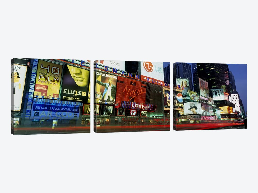 Billboards On Buildings In A City, Times Square, NYC, New York City, New York State, USA by Panoramic Images 3-piece Art Print