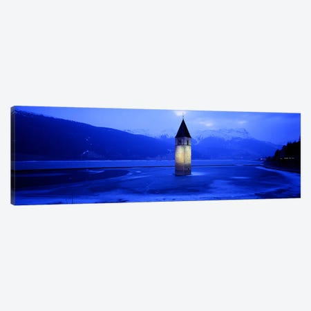 Bell Tower Of Campanile di Curon In Winter, Lago di Resia, South Tyrol, Italy Canvas Print #PIM4178} by Panoramic Images Canvas Print