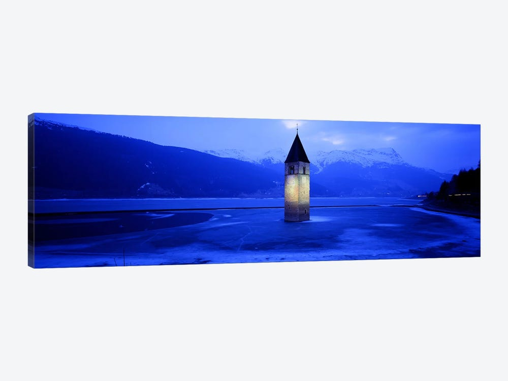 Bell Tower Of Campanile di Curon In Winter, Lago di Resia, South Tyrol, Italy by Panoramic Images 1-piece Canvas Wall Art