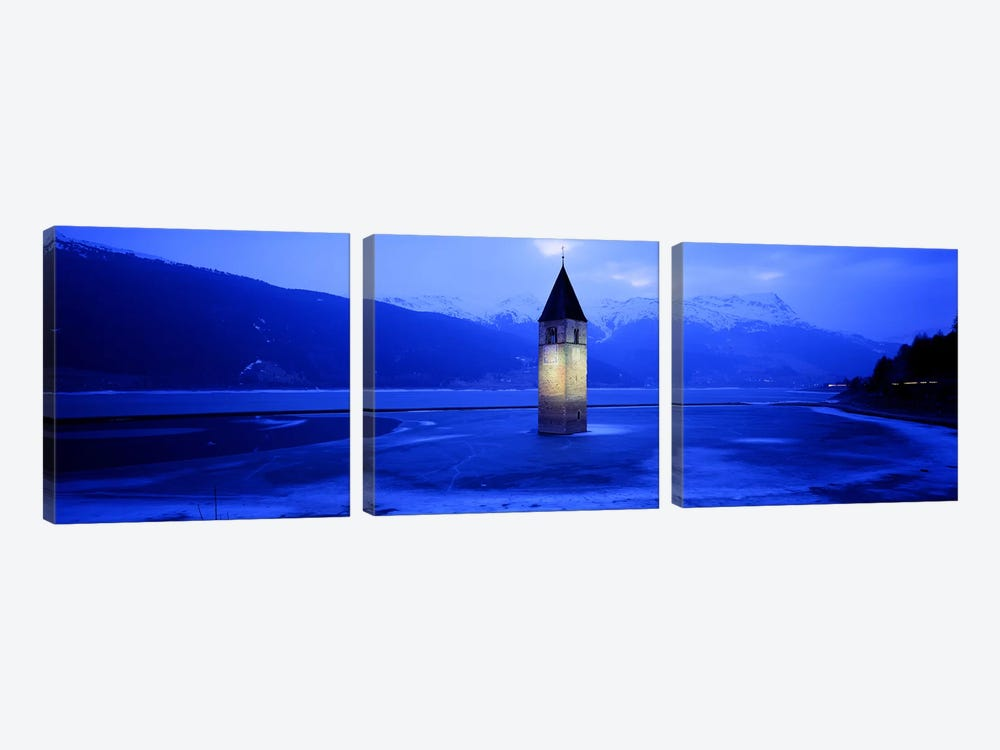 Bell Tower Of Campanile di Curon In Winter, Lago di Resia, South Tyrol, Italy by Panoramic Images 3-piece Canvas Artwork
