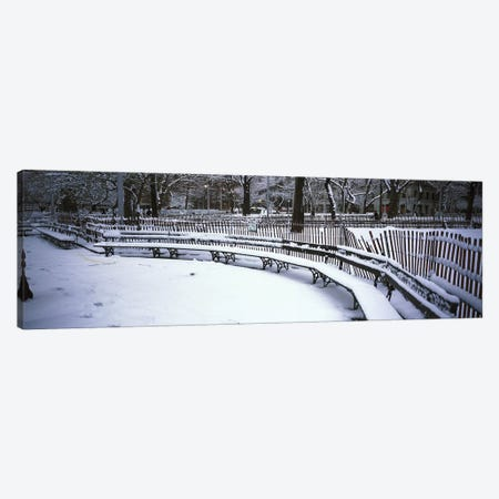 Snowcapped benches in a park, Washington Square Park, Manhattan, New York City, New York State, USA Canvas Print #PIM4181} by Panoramic Images Canvas Wall Art