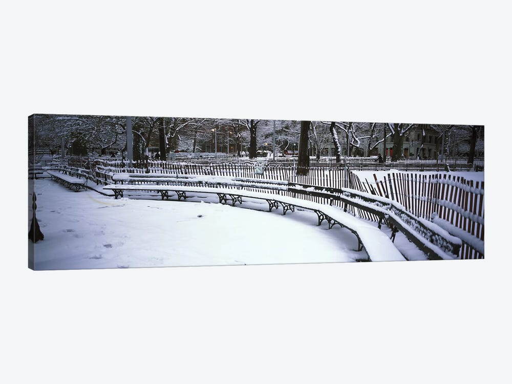 Snowcapped benches in a park, Washington Square Park, Manhattan, New York City, New York State, USA by Panoramic Images 1-piece Canvas Wall Art