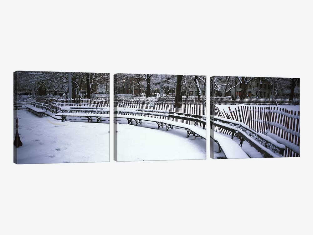 Snowcapped benches in a park, Washington Square Park, Manhattan, New York City, New York State, USA by Panoramic Images 3-piece Canvas Art