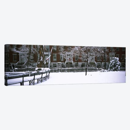 Snowcapped benches in a park, Washington Square Park, Manhattan, New York City, New York State, USA #2 Canvas Print #PIM4182} by Panoramic Images Canvas Art
