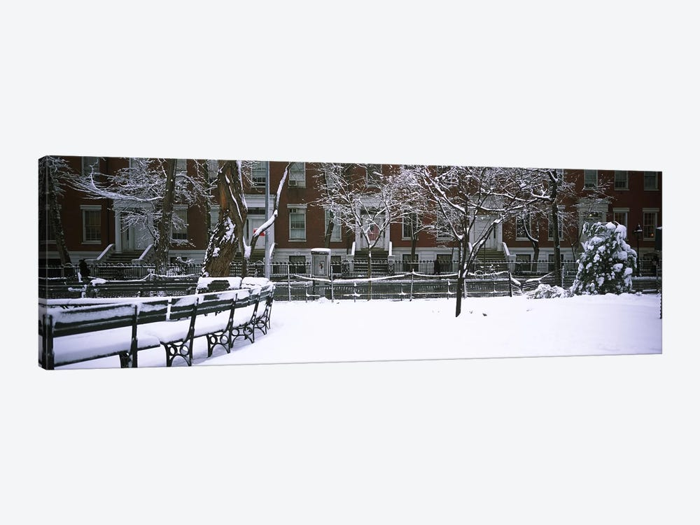 Snowcapped benches in a park, Washington Square Park, Manhattan, New York City, New York State, USA #2 by Panoramic Images 1-piece Canvas Print