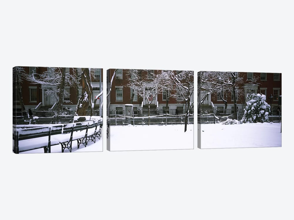 Snowcapped benches in a park, Washington Square Park, Manhattan, New York City, New York State, USA #2 by Panoramic Images 3-piece Canvas Print