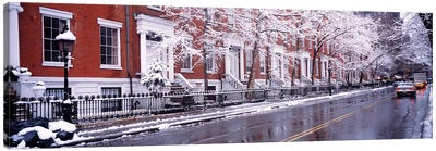Winter, Snow In Washington Square, NYC, New York City, New York State, USA Canvas Print #PIM4183