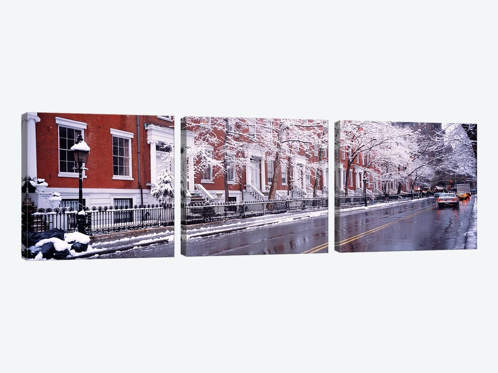 Winter, Snow In Washington Square, NYC, New York City, New York State, USA 3-piece Canvas Artwork