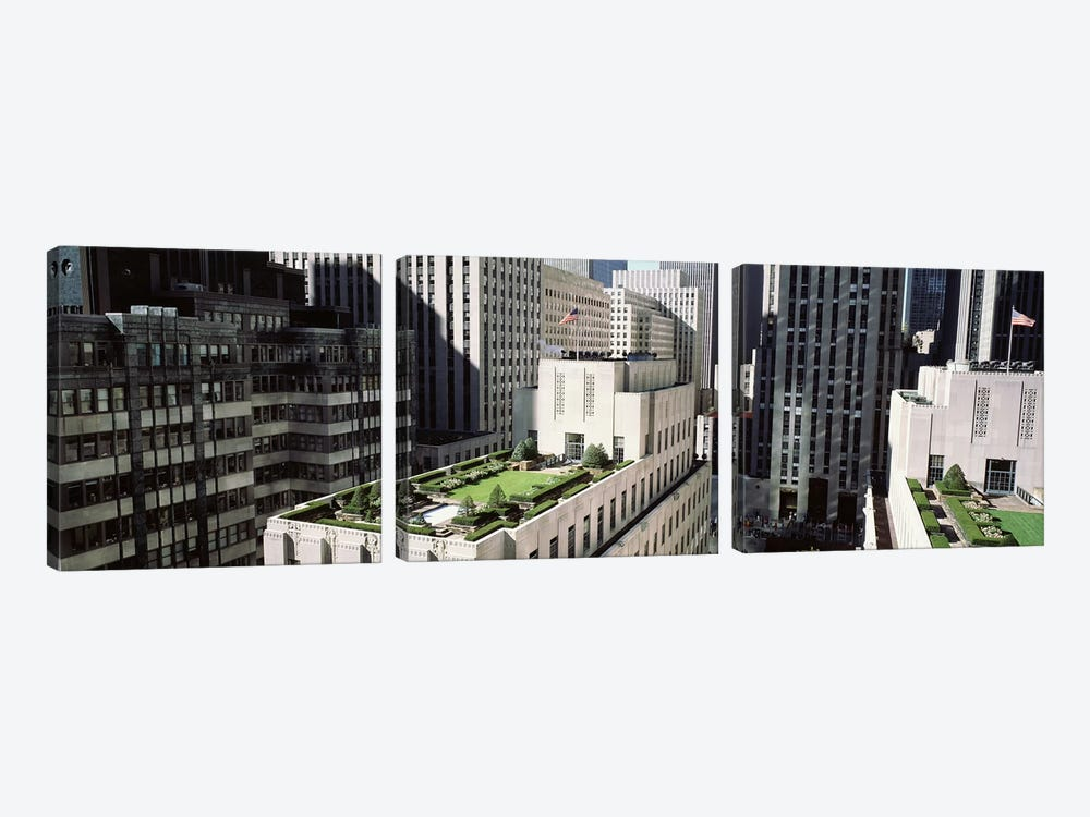 Rooftop Garden, Rockefeller Center, New York City, New York, USA by Panoramic Images 3-piece Canvas Wall Art